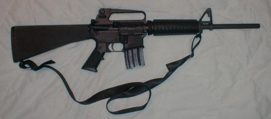 Assembled rifle with A2 stock and magazine